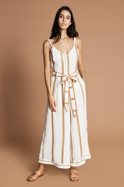 SANCIA Verona cuffed wide leg button down tank with belt Jumpsuit in Jola Stripe