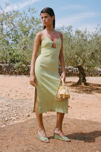 PALOMA WOOL | Dalini Linen Fitted Midi Dress - Pastel Lime