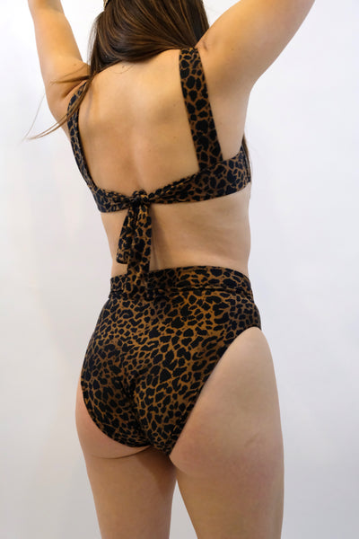 SIDWAY swim suit bathing suit The Susan Square Neck Bikini Top Animalia Leopard Print