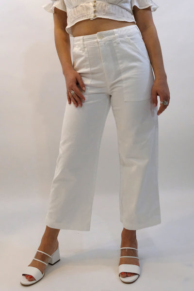 LACAUSA Brushed Stella Trousers Pants cropped Whitewash