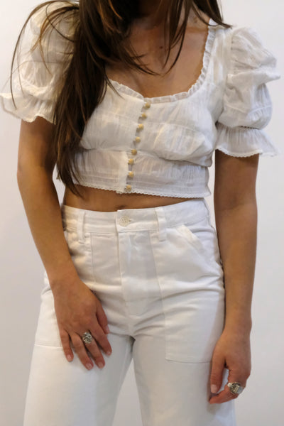 JONATHAN SIMKHAI Lace Combo Puff Sleeve Button Down Top White