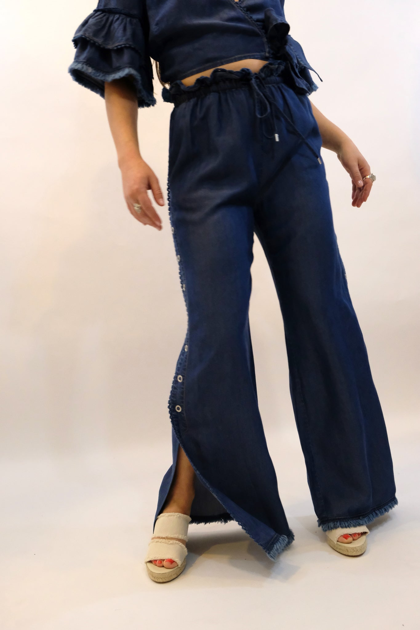 JONATHAN SIMKHAI Washed Denim Side Snap Pant Indigo blue