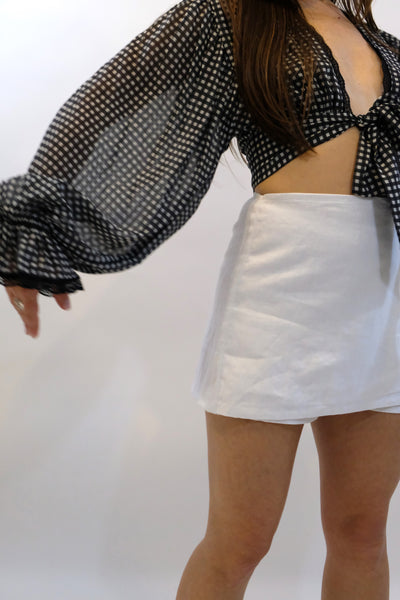 JONATHAN SIMKHAI Gingham Front Tie Ruffle Sleeve Top Black & White