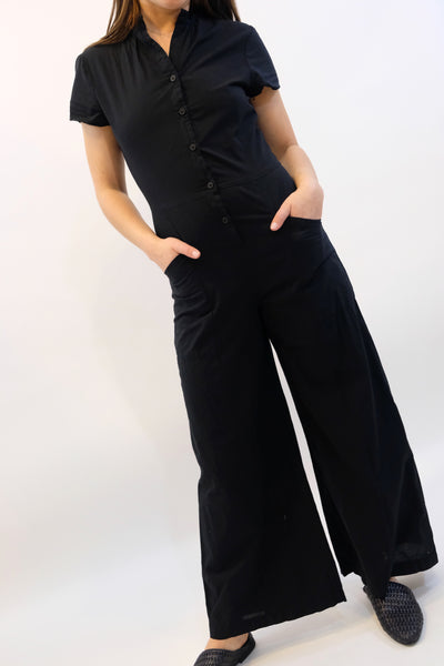 LACAUSA Bungalow short sleeve Jumpsuit Black Tar