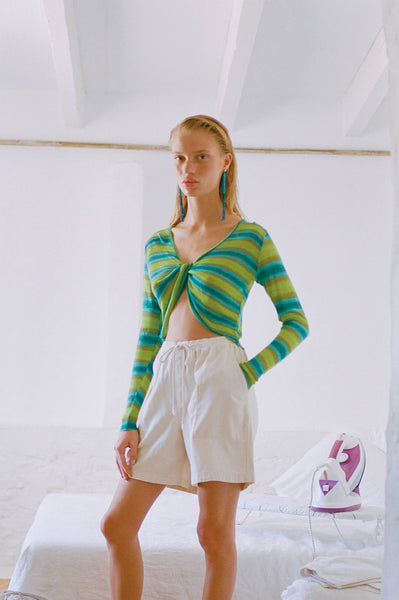 PALOMA WOOL | Manuel Long Sleeve Striped Knit Top - Cyan Blue and Green