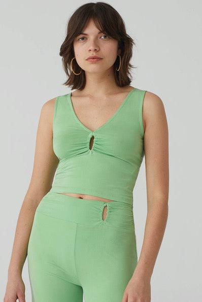 PALOMA WOOL | Tatu Jersey Tank Top - Fluorescent Green