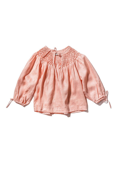 INNIKA CHOO | Hope Filthhorts Smocked Honeycomb Blouse - Peach