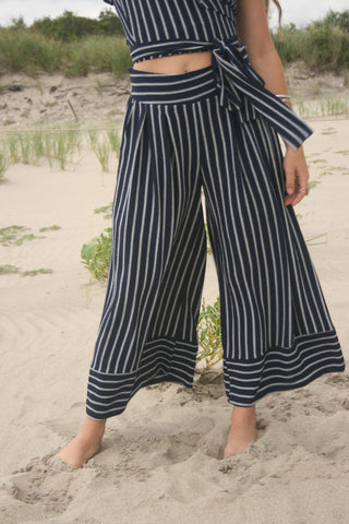 MISA | Nikola Wide Leg Pant - Black with White Stripe