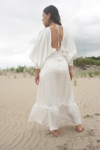 MISA satin maxi Valencia Dress White stockists retailers