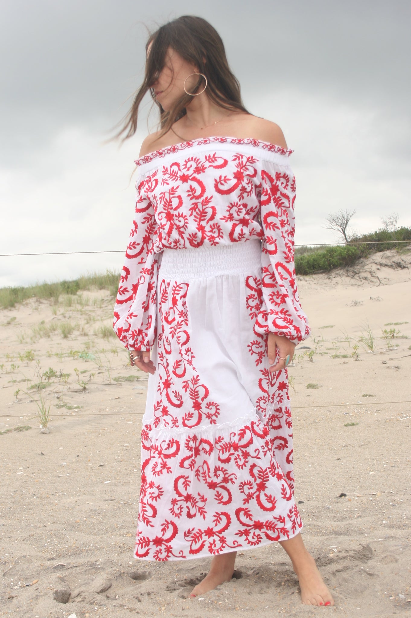 MISA | Lilou Dress - White with Red Embroidery