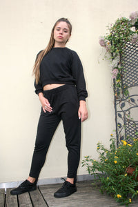 A fine line billy cropped top black cute sweatsuit