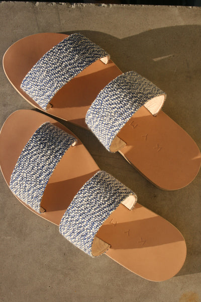 kyma two strap sandals greece giaros blue speckle slip on cotton canvas