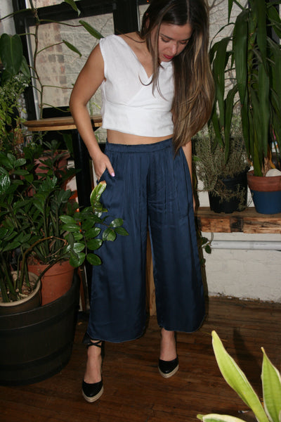 lacausa wide leg franklin pant trouser midnight navy easy flowy