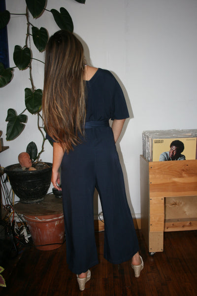 lacausa ingrid jumpsuit midnight navy belted short sleeved