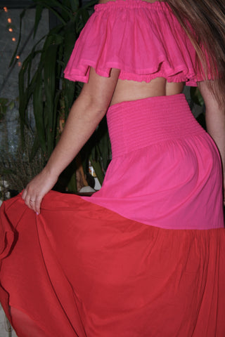 ANAAK Mai Colorblock Maxi Skirt and Dress Red and Fuschia
