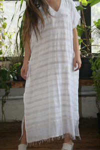 LEMLEM Kelali Long Caftan honeymoon resort coverup White