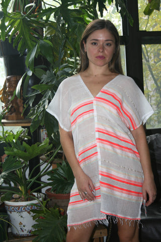 LEMLEM Fiesta Tunic Coverup beach resort cool mini Orange Stripe