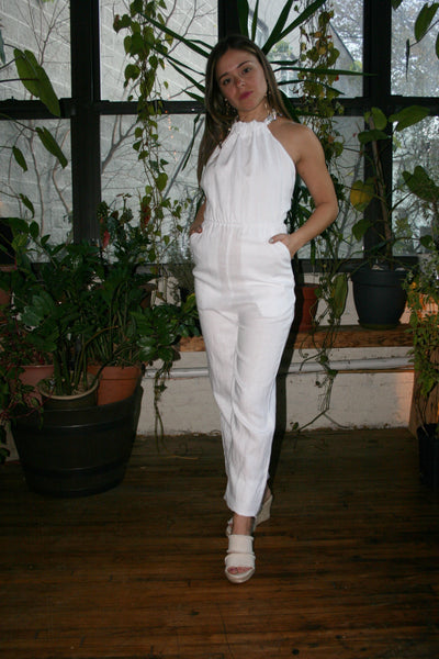 SIR the Label | Kai Linen Halter Jumpsuit - White
