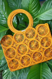 KAANAS Salamina Round Handle Tote Marigold Yellow woven colombia