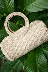 KAANAS Socorro Satchel Small Duffel Woven Straw Bag Natural