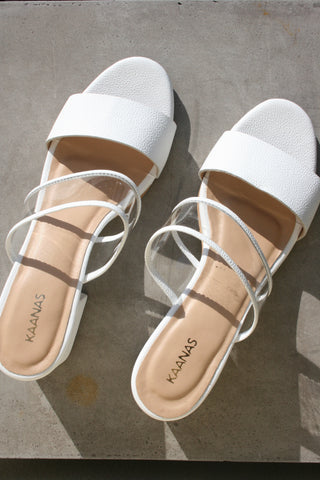 KAANAS Malta Double Band Mid Heel Slide White