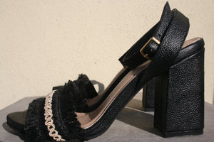 KAANAS Imbros Frayed High Heel Ankle Strap Black