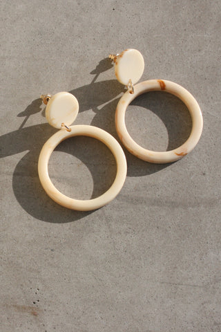 CASA CLARA Solana Drop Hoop Earrings Ivory