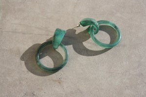 CASA CLARA Milly Drop Hoop Earrings Jade Green