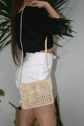 KAANAS Bolivar Floral Crossbody Straw Bag Natural