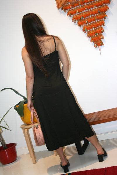 LACAUSA Alma Slip Dress Black Tar