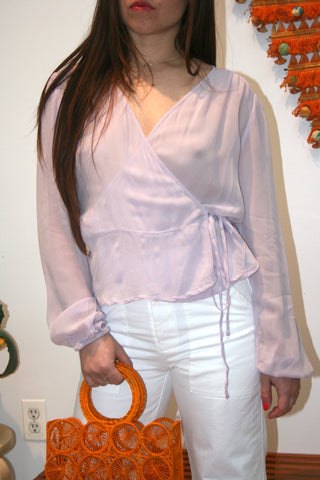 LACAUSA Bonnie Sheer Wrap Top Lavender