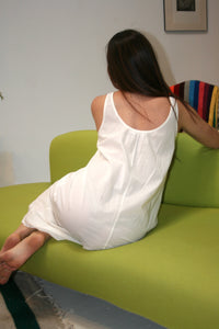 LACAUSA Wendy Nightgown Slip Dress White Panna Cotta Cream
