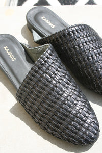 Kaanas basketweave alicante woven slide on mule black