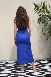 PALOMA WOOL Museo Linen Summer Dress in intense electric Blue