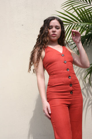 PALOMA WOOL Alana linen summer Jumpsuit in Rust Terracotta