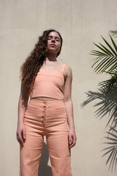 PALOMA WOOL Jaja Linen Crop Top Summer Peach