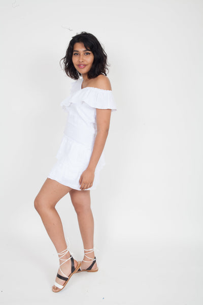 SIR the Label Ines Ruffled Mini Dress White