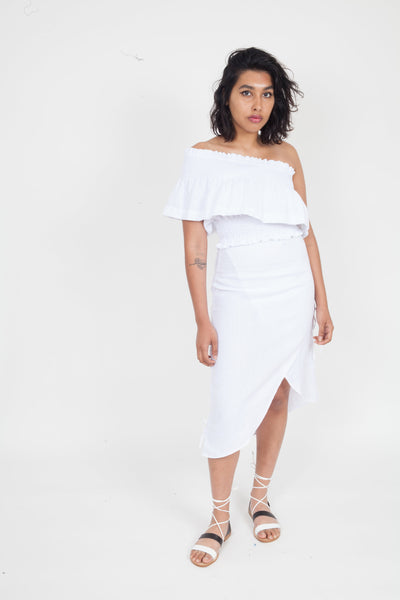 SIR the Label Ines Ruched Wrap Skirt White