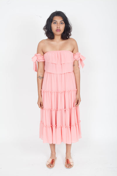 MISA Micaela off shoulder tiered Dress Blush