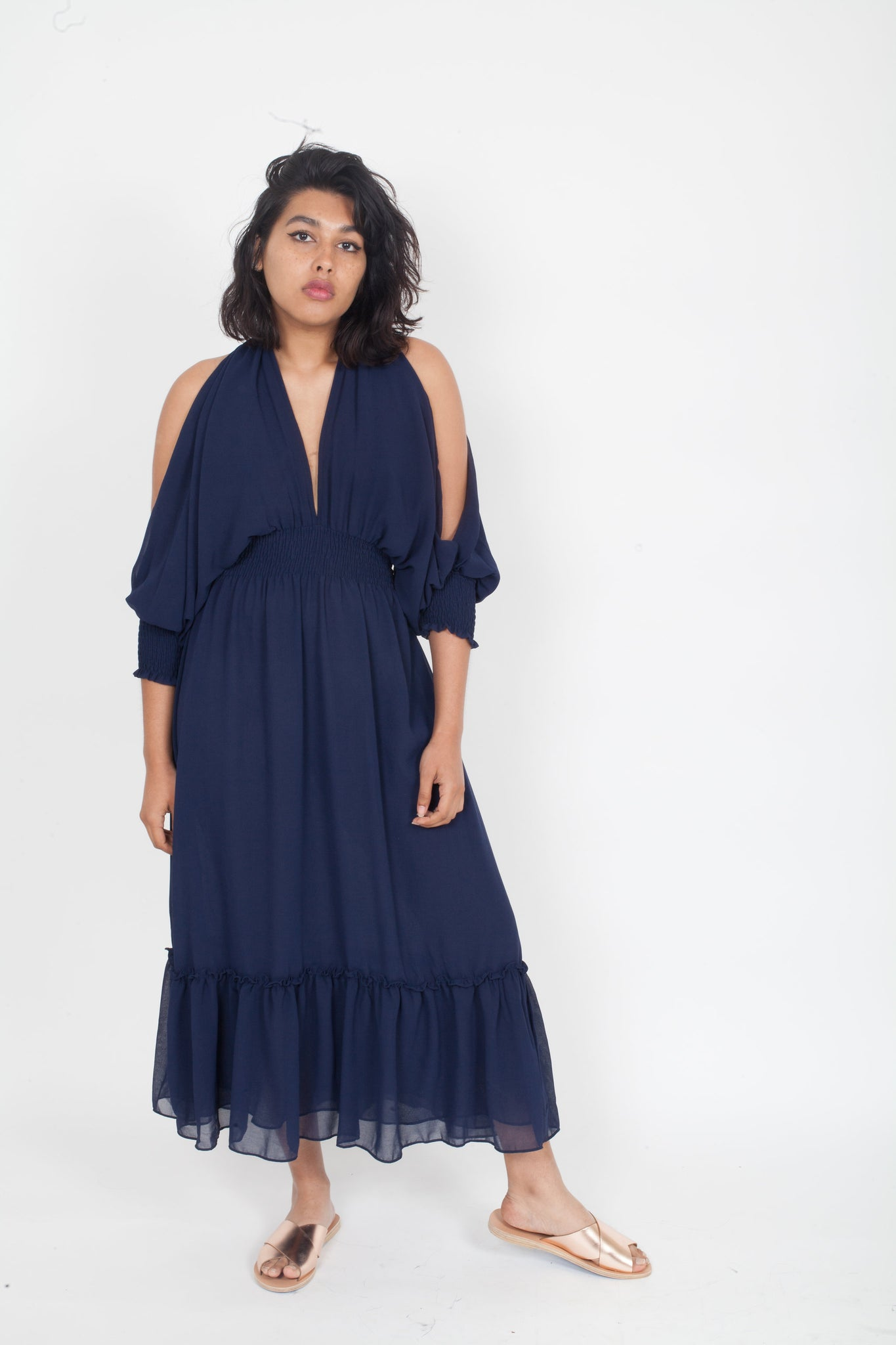 MISA Margaux cold midi maxi shoulder Dress Navy