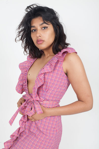 MISA Stella Dress - Fuschia red Multi Gingham