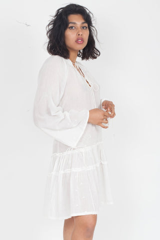 ANAAK Fay Pintuck Dress in White