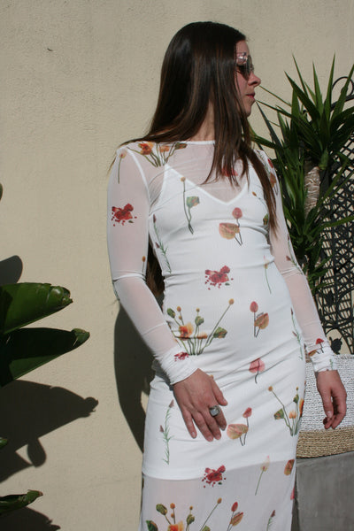 AÉRYNE | Sandrine Long Sleeve Floral Print Mesh Dress Aeryne Paris White Fleures Sauvage