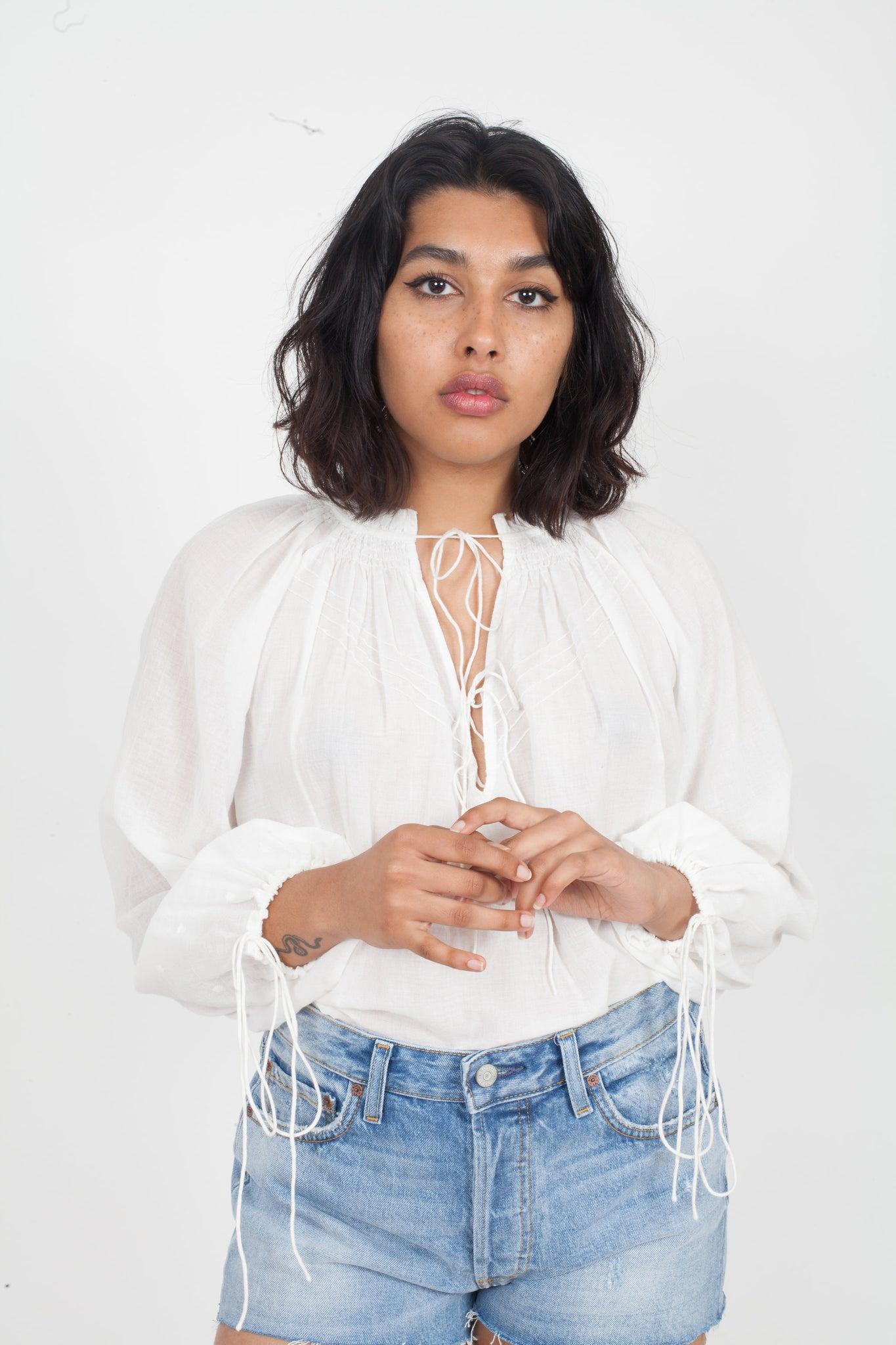 ANAAK Fay Pintuck Blouse in White