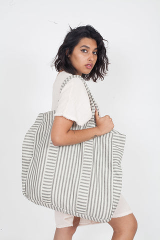 Wax and Cruz Baiae oversize Beach bag blue and white stripes