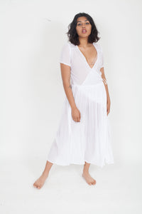 LACAUSA Pantry sheer wrap Dress White