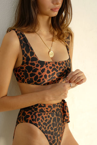 SIDWAY | The Susan Square Neck Bikini Top - Animalia Leopard Print