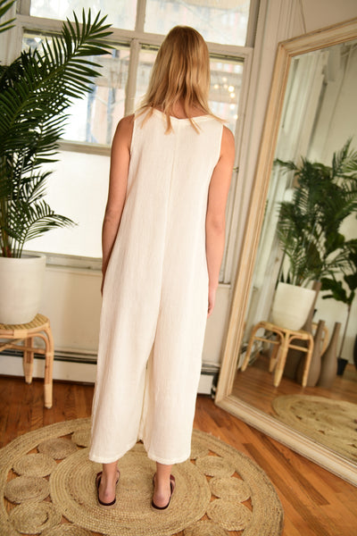 LACAUSA Elderflower Jumpsuit in Bone