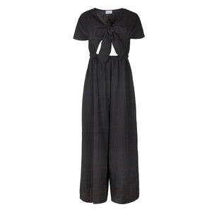 WRAY | Tie Front wide leg Jumpsuit - Black