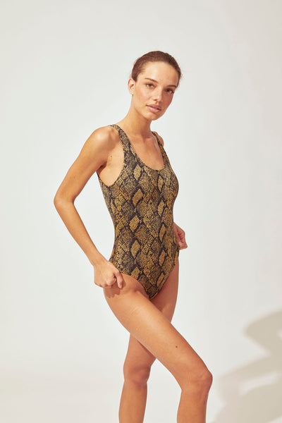 The Anne Marie One-Piece Solid & Striped Swimwear - Snake Print